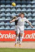 Dundee's Gary Irvine and Inverness&rsquo; Ryan Christie  challenge in the air - Dundee v Inverness Caledonian Thistle in the Ladbrokes Premiership at Dens Park<br /> <br />  - &copy; David Young - www.davidyoungphoto.co.uk - email: davidyoungphoto@gmail.com