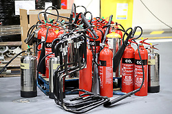 New fire extinguishers waiting to be installed ahead of sea trials this summer, for the Royal Navy's new aircraft carrier HMS Queen Elizabeth, at Rosyth Dockyard in Dunfermline.