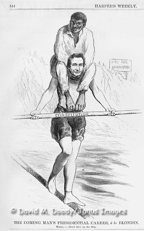 Abe Lincoln political cartoon with a black man on his shoulders as he balances walking a tight rope. Just prior to election to his first term in  1860. The illustration is of a clean shaven Lincoln.  politics/government  August 1860 Harper's Weekly.