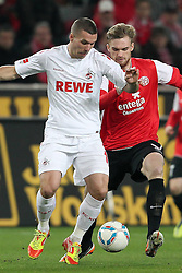 13.12.2011, Rhein Energie Stadion, Koeln, GER, 1.FBL, 1. FC Koeln vs Mainz 05, im BildZweikampf zwischen Jan Kirchhoff (Mainz #15) gegen Lukas Podolski (Koeln #10) // during the 1.FBL, 1. FC Koeln vs Mainz 05 on 2011/12/13, Rhein-Energie Stadion, Köln, Germany. EXPA Pictures © 2011, PhotoCredit: EXPA/ nph/ Mueller..***** ATTENTION - OUT OF GER, CRO *****