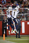 Los Angeles Chargers wide receiver Andre Patton (15) and Los Angeles Chargers wide receiver Justice Liggins (1) in action during the 2018 NFL preseason week 4 football game against the San Francisco 49ers on Thursday, Aug. 30, 2018 in Santa Clara, Calif. The Chargers won the game 23-21. (©Paul Anthony Spinelli)