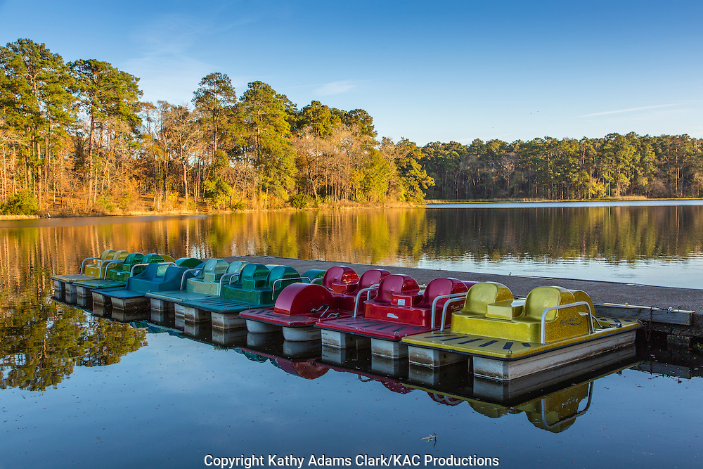 Paddleboats, Huntsville State Park, in autumn, north of Houston, texas and south of Huntsville, texas.