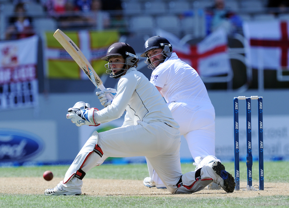 England's Matt Prior, right, pulls the ball down legside past New Zealand wicket keeper B J Watling on the third day of the 3rd international cricket test, Eden Park, Auckland, New Zealand, Sunday, March 24, 2013. Credit:SNPA / Ross Setford
