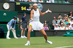 © Licensed to London News Pictures. 04/07/2018. London, UK. Victoria Azarenka of Belarus plays Karolina Pliskova of the Czech Republic in the women's 2nd round singles draw of the Wimbledon Tennis Championships 2018, Day 3. Photo credit: Ray Tang/LNP