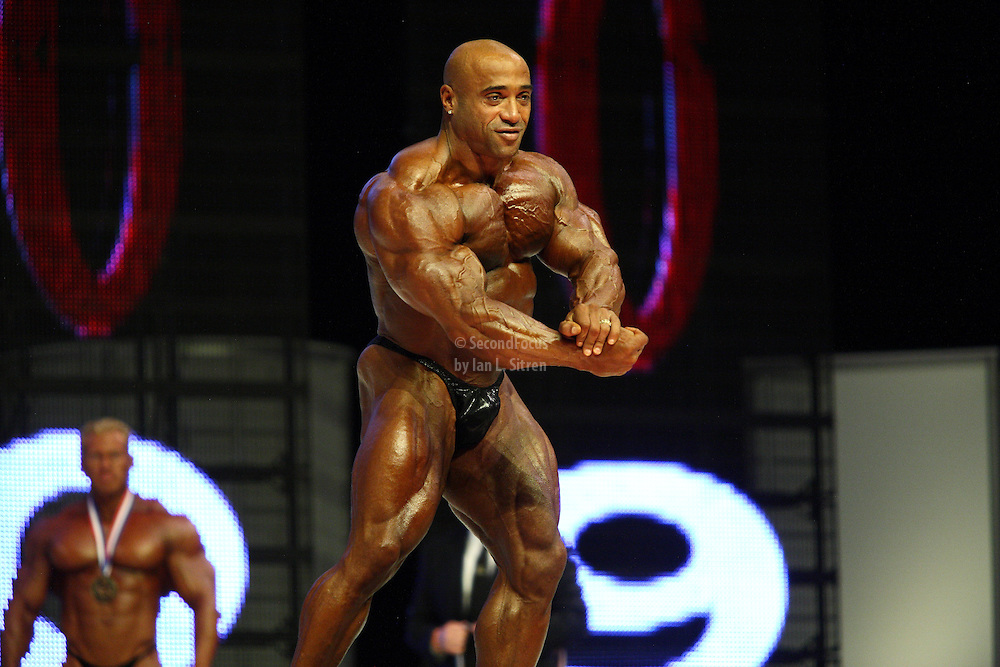 Dennis James on stage at the finals for the 2009 Mr. Olympia competition in Las Vegas.