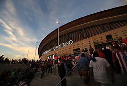 Fans outside the new Wanda Metropolitano stadium before the game