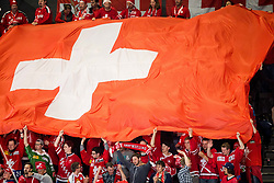 Fans of Switzerland celebrate after scoring first goal during the 2017 IIHF Men's World Championship group B Ice hockey match between National Teams of Norway and Switzerland, on May 7, 2017 in Accorhotels Arena in Paris, France. Photo by Vid Ponikvar / Sportida