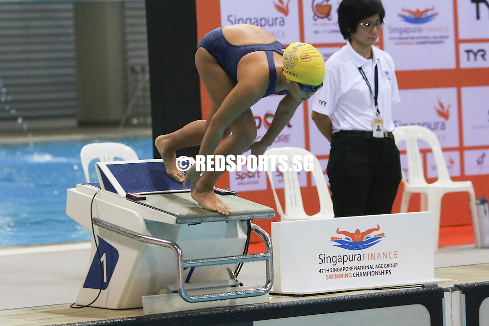 Athena Shannessa Chang starting off strong for her 100m freestyle race. She finished second among the 10 year olds with a timing of 1:12.15. (Photo © Chua Kai Yun/Red Sports)