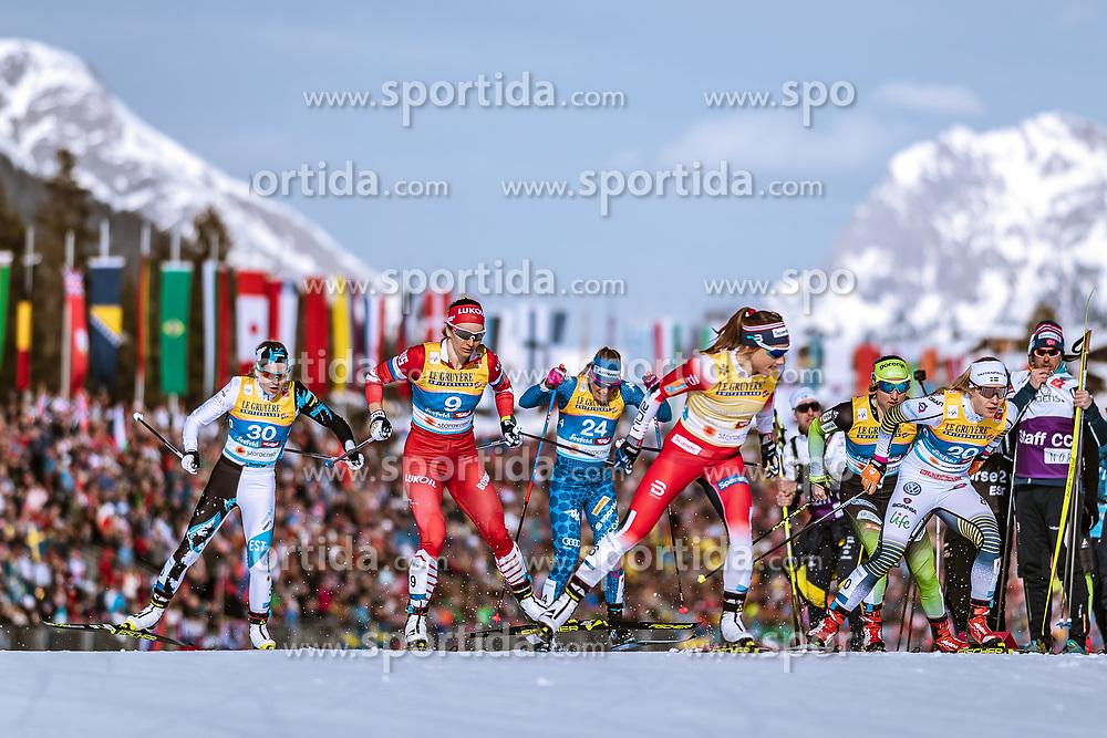 21.02.2019, Langlauf Arena, Seefeld, AUT, FIS Weltmeisterschaften Ski Nordisch, Seefeld 2019, Langlauf, Damen, Sprint, im Bild v.l.: Mariel Merlii Pulles (EST), Natalia Nepryaeva (RUS), Elisa Brocard (ITA), Maiken Caspersen Falla (NOR), Jonna Sundling (SWE) // f.l.: Mariel Merlii Pulles of Estonia Natalia Nepryaeva of Russian Federation Maiken Caspersen Falla of Norway Jonna Sundling of Sweden during the ladie's Sprint competition of the FIS Nordic Ski World Championships 2019. Langlauf Arena in Seefeld, Austria on 2019/02/21. EXPA Pictures © 2019, PhotoCredit: EXPA/ Dominik Angerer