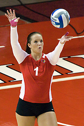 13 October 2012: Sierra Burris serves during an NCAA volleyball game between the Drake Bulldogs and the Illinois State Redbirds.  The Redbirds won the match in 3 straight sets at Redbird Arena in Normal Illinois