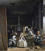 'Las Meninas' (The Maids of Honour) 1656. Painting by Diego Velázquez 1599 – 1660, Spanish painter  in the court of King Philip IV. The painting shows a large room in the Madrid palace of King Philip IV of Spain, and presents several figures, from the Spa