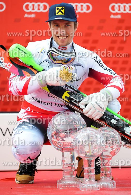 22.03.2015, Roc de Fer, Meribel, FRA, FIS Weltcup Ski Alpin, Meribel, am Podium für den Gesamtweltcup, im Bild Marcell Hirscher (AUT, 1. Platz) mit seinen Kristallkugeln und den WM Medaillen // first placed Marcell Hirscher of Austria with his crystal globes an his WM medals during the overall winner Ceremony for the Overall FIS World Cup at the Roc de Fer in Meribel, France on 2015/03/22. EXPA Pictures © 2015, PhotoCredit: EXPA/ Erich Spiess