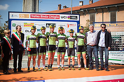 The Cyclance Pro Cycling stands on the start podium of the Trofeo Alfredo Binda - a 123.3km road race from Gavirate to Cittiglio on March 20, 2016 in Varese, Italy.
