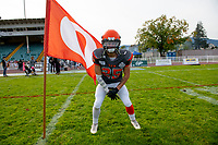 KELOWNA, BC - OCTOBER 6: Keagan Proudlock #25 of Okanagan Sun stands on the field after the win against the VI Raiders at the Apple Bowl on October 6, 2019 in Kelowna, Canada. (Photo by Marissa Baecker/Shoot the Breeze)