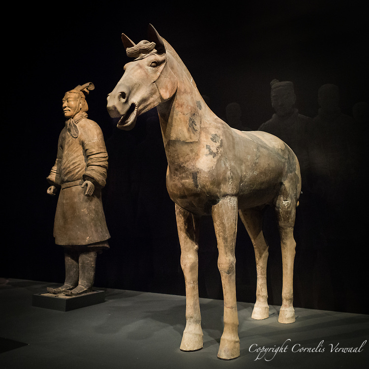 """Horse and Unarmed General"" Qin dynasty (221-206 B.C.)  on display at the Metropolitan Museum of art's exhibit ""The Age of Empires"" The figures were excavated in 1977 at the mausoleum complex of Qin Shihuangdi, Linton, Shaanxi Province and are part of 3000 terracotta soldiers."