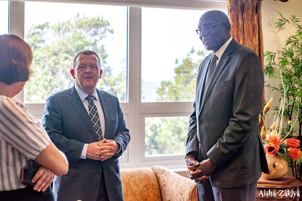 University of the Virgin Islands president Dr. David Hall receives Danish Prime Minister Lars Løkke Rasmussen during his visit to the US Virgin Islands for its Centennial Transfer Commemoration.  1 April 2017.  © Aisha-Zakiya Boyd.