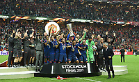 Wayne Rooney mit Pokal, vorn Trainer Jose Mourinho, Manchester Europa League Sieger 2017<br /> Stockholm, 24.05.2017, Fussball, Europa League, Finale 2017, Ajax Amsterdam - Manchester United 0:2<br /> norway only