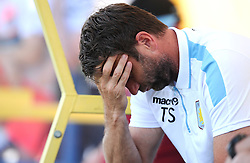 Aston Villa Manager, Tim Sherwood holds his head in his hands   - Photo mandatory by-line: Joe Meredith/JMP - Mobile: 07966 386802 - 17/07/2015 - SPORT - Football - Albufeira - Estadio Da Nora - Pre-Season Friendly