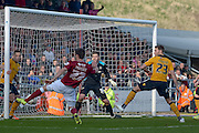 Northampton Town Defender Luke Prosser go's close during the Sky Bet League 2 match between Northampton Town and Newport County at Sixfields Stadium, Northampton, England on 25 March 2016. Photo by Dennis Goodwin.
