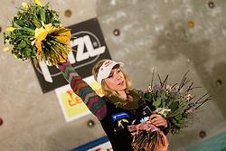 Natalija Gros of Slovenia ending her climbing career at farewell ceremony during women final competition of IFSC Climbing World Cup Kranj 2011, on November 20, 2011 in Arena Zlato Polje, Kranj, Slovenia. (Photo By Vid Ponikvar / Sportida.com)