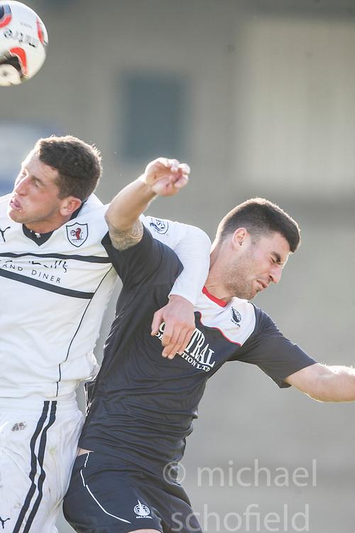 Raith Rovers Calum Elliot in on Falkirk's Jonathan Flynn.<br /> Raith Rovers 1 v 1 Falkirk, Scottish Championship 28/9/2013.<br /> &copy;Michael Schofield.