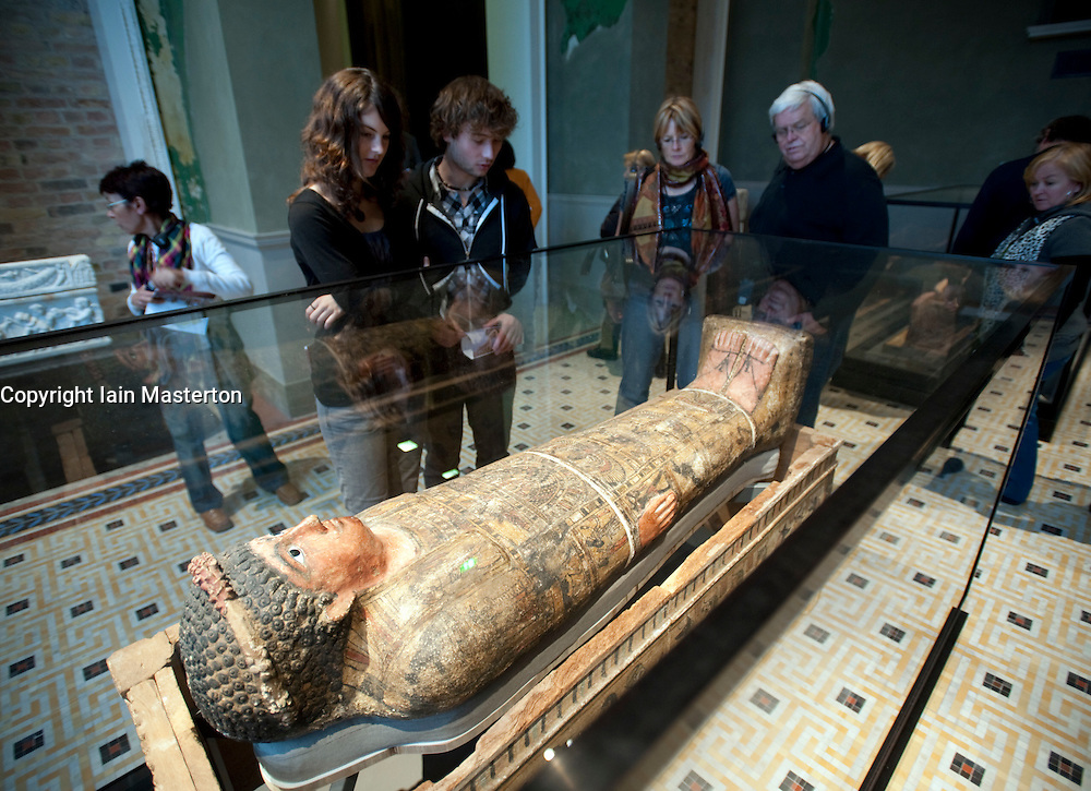 Egyptian Sarcophagus at Neues Museum of New Museum on Museumsinsel or Museum Island in Berlin