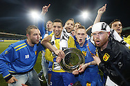 Onderwerp/Subject: Cambuur Leeuwarden - Jupiler League<br /> Reklame:  <br /> Club/Team/Country: <br /> Seizoen/Season: 2012/2013<br /> FOTO/PHOTO: F.L.T.R: Sicco BOUWER of Cambuur Leeuwarden and Adnane TIGHADOUINI of Cambuur Leeuwarden and Tim BAKENS of Cambuur Leeuwarden and Tim KEURNTJES of Cambuur Leeuwarden and Goalkeeper Leonard NIENHUIS of Cambuur Leeuwarden and Erik BAKKER of Cambuur Leeuwarden celebrating Jupiler League Championship and promotion to Eredivisie with the Trophy. (Photo by PICS UNITED)<br /> <br /> Trefwoorden/Keywords: <br /> #02 #18 $94 &plusmn;1367598354739<br /> Photo- &amp; Copyrights &copy; PICS UNITED <br /> P.O. Box 7164 - 5605 BE  EINDHOVEN (THE NETHERLANDS) <br /> Phone +31 (0)40 296 28 00 <br /> Fax +31 (0) 40 248 47 43 <br /> http://www.pics-united.com <br /> e-mail : sales@pics-united.com (If you would like to raise any issues regarding any aspects of products / service of PICS UNITED) or <br /> e-mail : sales@pics-united.com   <br /> <br /> ATTENTIE: <br /> Publicatie ook bij aanbieding door derden is slechts toegestaan na verkregen toestemming van Pics United. <br /> VOLLEDIGE NAAMSVERMELDING IS VERPLICHT! (&copy; PICS UNITED/Naam Fotograaf, zie veld 4 van de bestandsinfo 'credits') <br /> ATTENTION:  <br /> &copy; Pics United. Reproduction/publication of this photo by any parties is only permitted after authorisation is sought and obtained from  PICS UNITED- THE NETHERLANDS