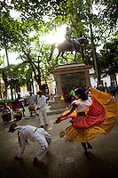 Dancers in Plaza de Bolivar in Cartagena, Colombia...Photo by Robert Caplin.
