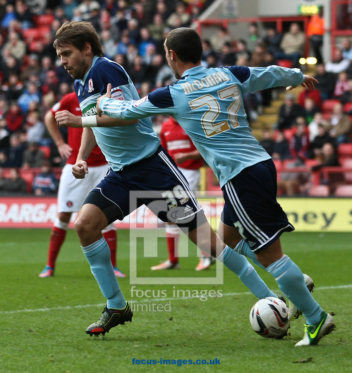 Picture by David Horn/Focus Images Ltd +44 7545 970036.03/11/2012.Scott McDonald (right) celebrates with Jonathan Woodgate of Middlesbrough during the npower Championship match at The Valley, London.