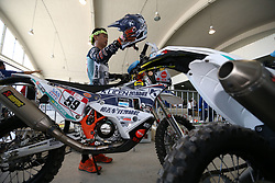 LIMA, Jan. 6, 2019 --.    Chinese rider Zhang Min waits at the technical check-up area.    before the 2019 Dakar Rally Race, Lima, Peru, on Jan. 5, 2019. The 41st edition of Dakar Rally Race will take place in Peru from January 6 to 17, 2019 with a start and finish both in Lima. (Credit Image: © Xinhua via ZUMA Wire)