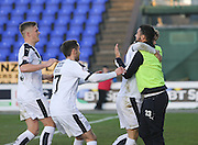 Dundee's Kane Hemmings congratulates Rory Loy after his goal - Inverness Caledonian Thistle v Dundee at Caledonian Stadium, Inverness<br /> <br />  - © David Young - www.davidyoungphoto.co.uk - email: davidyoungphoto@gmail.com