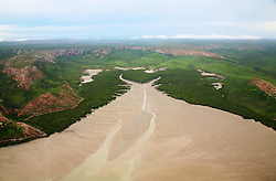 Aerial view of Dugong Bay at low tide, on the Kimberley coast.