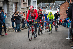 The leading group at Côte de Saint-Roch with 128 km to go, the 102th edition of Liège-Bastogne-Liège race running 253 km from Liège to Liège, Belgium, 24 April 2016.<br /> Photo by Pim Nijland / PelotonPhotos.com<br /> <br /> All photos usage must carry mandatory copyright credit (© Peloton Photos | Pim Nijland)