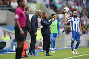 Brighton Manager, Chris Hughton and Brighton First Team Coach, Paul Nevin during the EFL Sky Bet Championship match between Brighton and Hove Albion and Brentford at the American Express Community Stadium, Brighton and Hove, England on 10 September 2016.
