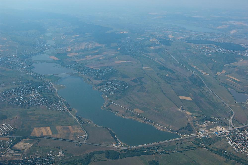 Aerial view of lake of Limbenii Noi north of Moldova