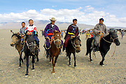GOBI DESERT, MONGOLIA..08/26/2001.Bayangovi. Riders at local Naadam festival..(Photo by Heimo Aga).