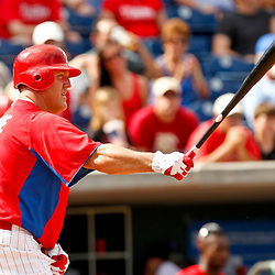 February 29, 2012; Clearwater, FL, USA; Philadelphia Phillies first baseman Jim Thome (25) during a spring training exhibition game against Florida State University at Bright House Networks Field. The Phillies defeated Florida State 6-1. Mandatory Credit: Derick E. Hingle-US PRESSWIRE