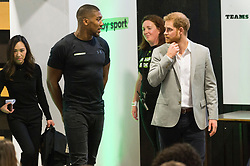 © Licensed to London News Pictures. 12/06/2019. London, UK. Former world heavyweight boxing champion Anthony Joshua and The Duke of Sussex attends the launch of Made By Sport at Black Prince Trust. Made by Sport is borne out of the recognition that sport can play a fundamental role in developing skills that make a difference at school, at work and in life. Photo credit: Ray Tang/LNP