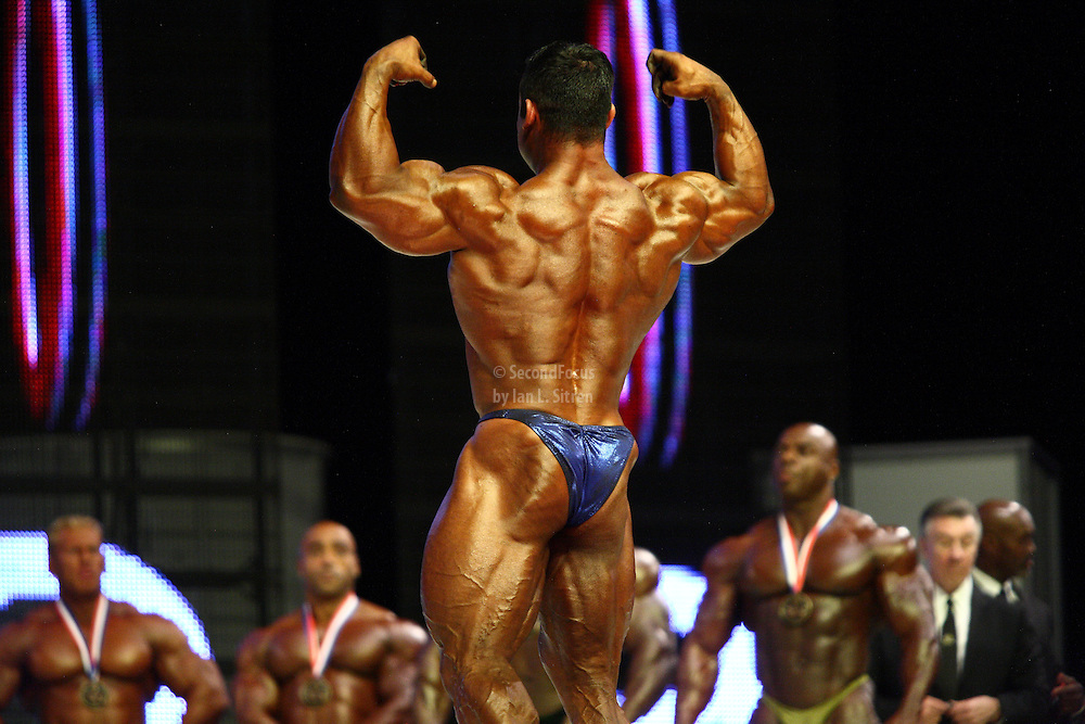 Moe Elmoussawi on stage at the finals for the 2009 Mr. Olympia competition in Las Vegas.