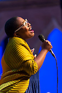 Cécile McLorin Salvant performs in the Venetian Theater at Caramoor in Katonah New York on July 18, 2015. <br /> (photo by Gabe Palacio)