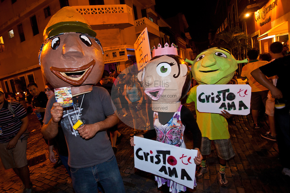 A costumed characters hand out Christian literature in San Juan, Puerto Rico.