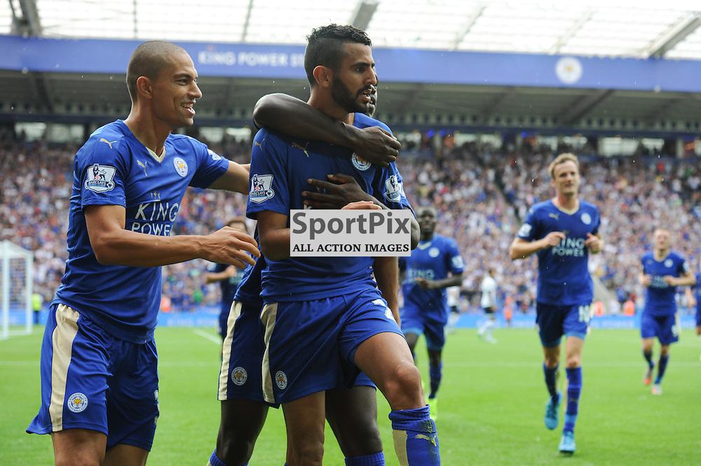 Leicester players celebrate Riyad Mahrez' equaliser to make the score 1-1(c) Simon Kimber | SportPix.org.uk