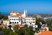 Sintra National Palace - Palacio Nacional - from the direction of the Moorish Castle, Sintra, Portugal