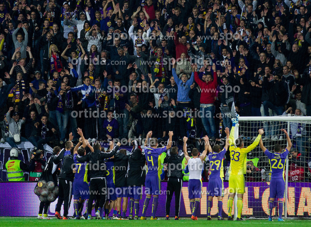 Players of Maribor and their fans Viole celebrate after the football match between NK Maribor and Panathinaikos Athens F.C. (GRE) in 1st Round of Group Stage of UEFA Europa league 2013, on September 20, 2012 in Stadium Ljudski vrt, Maribor, Slovenia. Maribor defeated Panathinaikos 3-0. (Photo By Vid Ponikvar / Sportida)