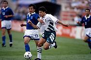 FIFA World Cup - USA 1994<br /> 26.6.1994, Soldier Field Stadium, Chicago, Illinois.<br /> Group D, Bulgaria v Greece.<br /> Krassimir Balakov (Bulgaria) v Vaios Karagiannis (Greece).