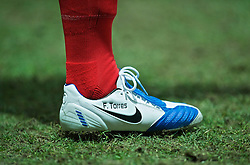 PRESTON, ENGLAND - Saturday, January 3, 2009: The blue and white Nike football boot of Liverpool's Fernando Torres as he warms-up against Preston North End during the FA Cup 3rd Round match at Deepdale. (Photo by David Rawcliffe/Propaganda)