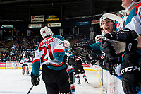 KELOWNA, CANADA - APRIL 26: Devante Stephens #21 high fives the bench after his line scored a goal against the Seattle Thunderbirds on April 26, 2017 at Prospera Place in Kelowna, British Columbia, Canada.  (Photo by Marissa Baecker/Shoot the Breeze)  *** Local Caption ***