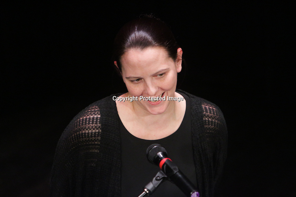 Susan Auten speaks Sunday March 8, 2015 during A Roast of John Staton at TheatreNOW in Wilmington, N.C. (Jason A. Frizzelle)