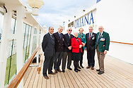 Members of the Falklands Hospital Ship Reunion Group gather onboard P&amp;O Cruises' Oriana in Southampton today, 35 years after the start of the conflict in the South Atlantic. Left to right: Steve Moutrey who was operating theatre staff, Mark Trasler who was a Chief Petty Officer Medical Technician, Captain Grahame Burton who was Chief Officer in charge onboard Uganda. Captain Burton was later appointed the Master of Oriana when she was being built and is a former Vice President of Princess Cruises. Nicci Pugh who was a Theatre Sister on the Hospital Ship Uganda, Maggie Freer who was Head Naval Nurse on the Uganda, Jon Strange who served as a Chief Petty Officer on HMS Sheffield when she was sunk and Robert &quot;Ossie&quot; Osborn, formerly of the 2nd Battalion Scots Guards. 50 former soldiers, sailors and nurses will spend the next four days cruising aboard Oriana to the Channel Islands.<br /> Picture date Thursday 11th May, 2017.<br /> Picture by Christopher Ison. Contact +447544 044177 chris@christopherison.com