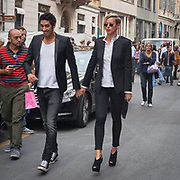 Quarto giorno della Settimana della Moda a Milano: Federica Pellegrini e Filippo Magnini in via Montenapoleone<br /> <br /> Fourth  day of Milan Fashion Week: the couple of italian swimmers Filippo Magnini and Federica Pellegrini walking in Via Montenapoleone.